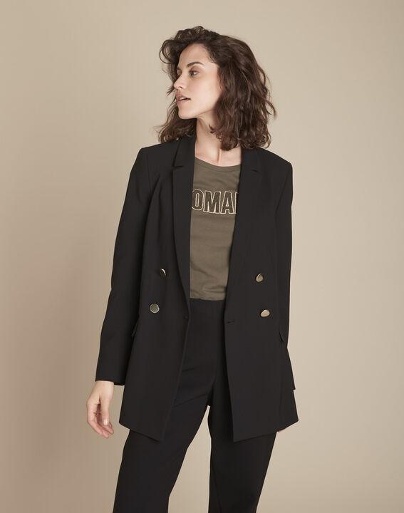 Schwarze, lange und gekreuzte Jacke aus Mikrofaser Florine (2) - Maison 123
