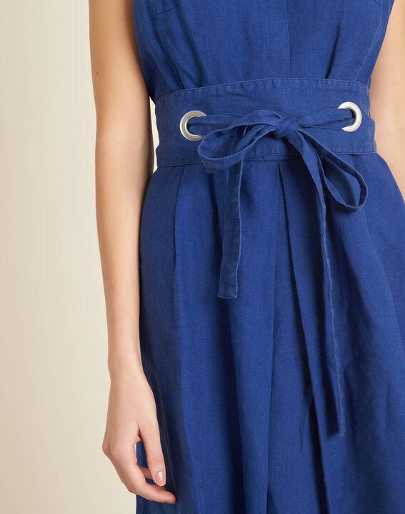 Robe bleue en lin à ceinture Poppy PhotoZ | 1-2-3