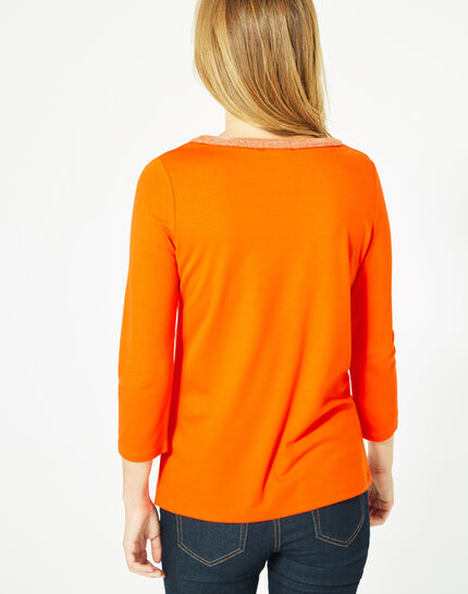 Tee-shirt orange manches 3/4 col rond Billy (5) - 1-2-3