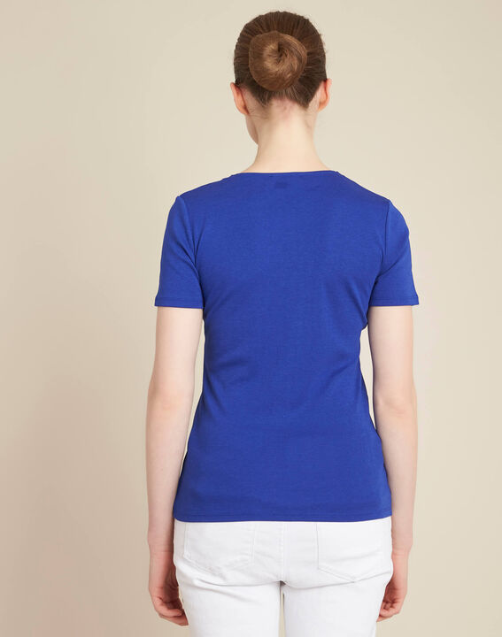 Tee-shirt bleu roi encolure en V oeillets Basic (4) - 1-2-3