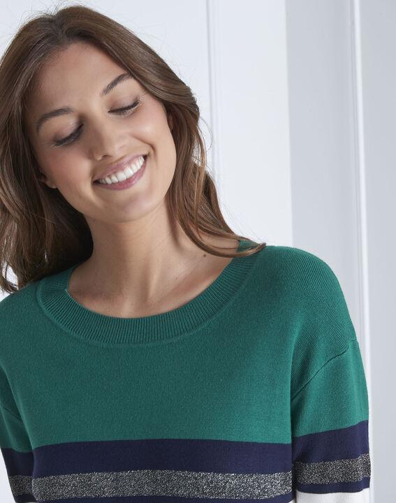 Pull vert rayé colorblock Absynthe (3) - Maison 123