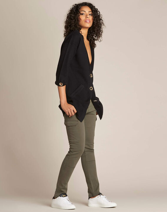 Nelson black cardigan with golden fastening (3) - 1-2-3