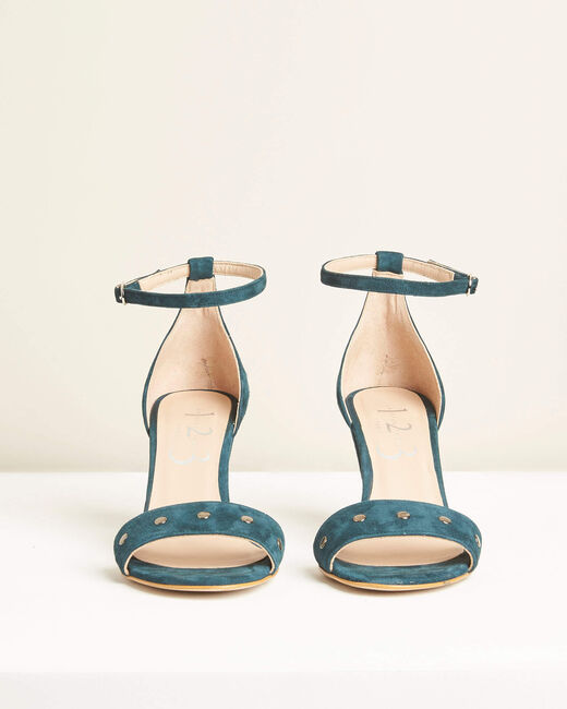 Klen green suede-effect heeled sandals (1) - 1-2-3