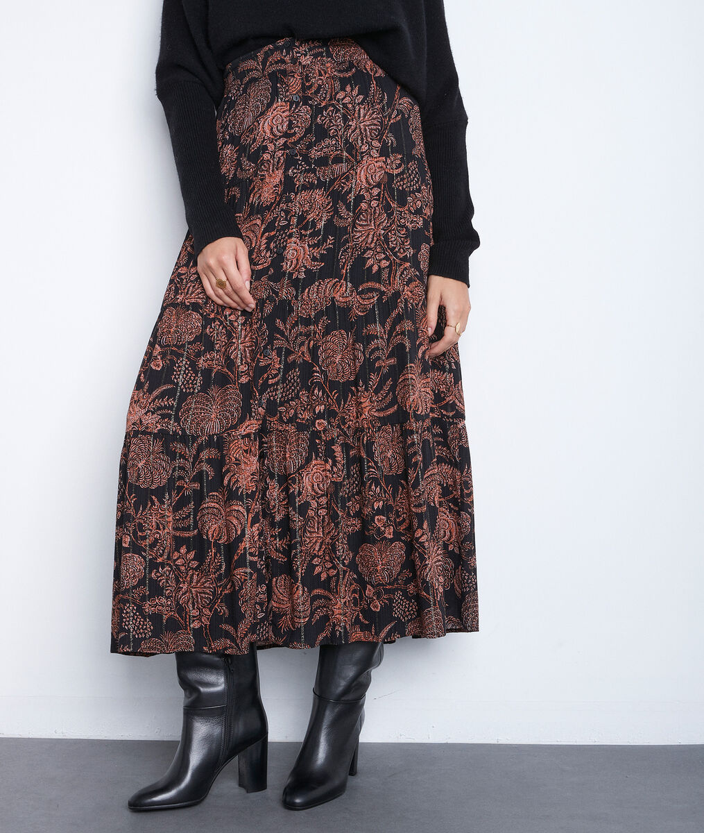 Jupe longue imprimée noire et orange Emira PhotoZ | 1-2-3