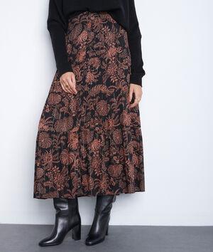 Jupe longue imprimée noire et orange Emira