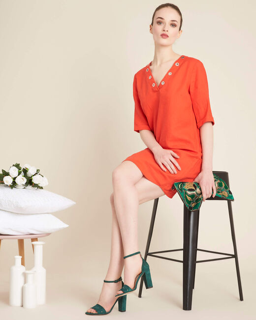 Pavot orange linen dress with eyelets on the neckline (2) - 1-2-3