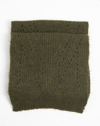 Frida khaki openwork knit scarf leaf.