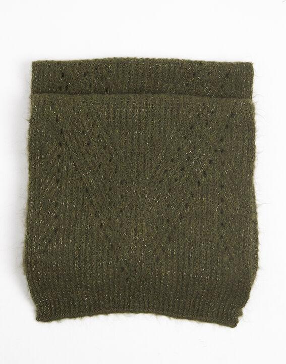 Kaki sjaal van breiwerk met ajour Frida (1) - 37653