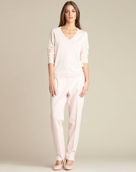 Pull rose pâle encolure brillante laine et soie Newyork (2) - 1-2-3