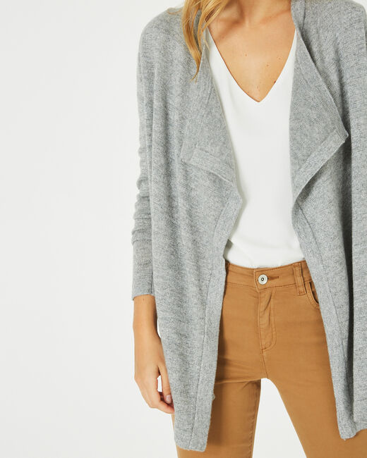 Pimprenelle marl grey, shiny cashmere waterfall cardigan (2) - 1-2-3