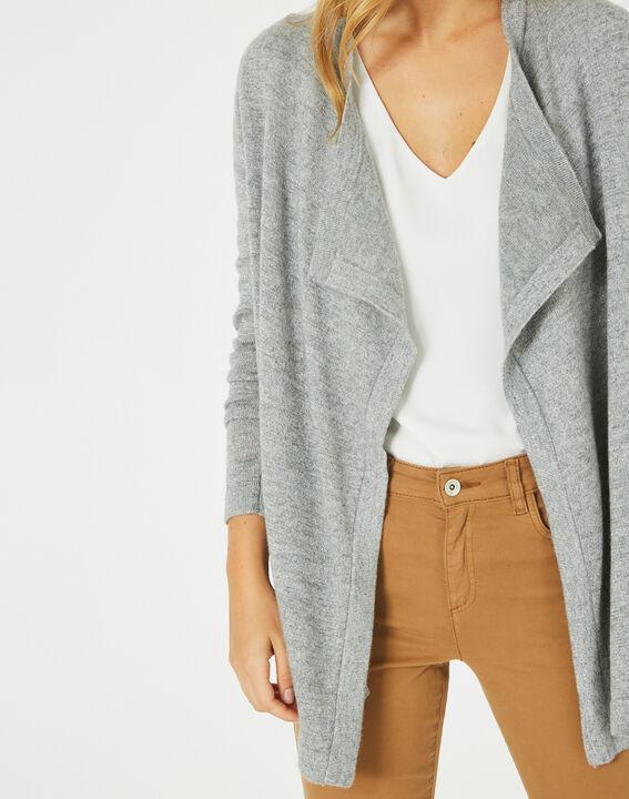 Pimprenelle marl grey, shiny cashmere waterfall cardigan (2) - 1-2-3