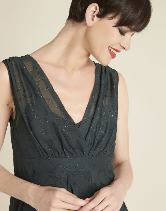 Nina dark green dress with diamanté detailing (3) - 1-2-3