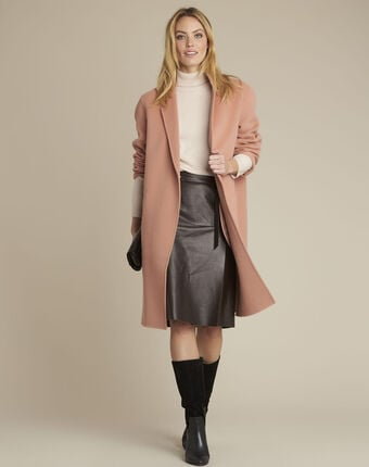 Manteau rose double face en laine edgar primerose.