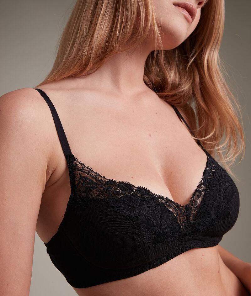 Soutien-gorge ampliforme en tulle coton et dentelle française noir Jeanne PhotoZ | 1-2-3