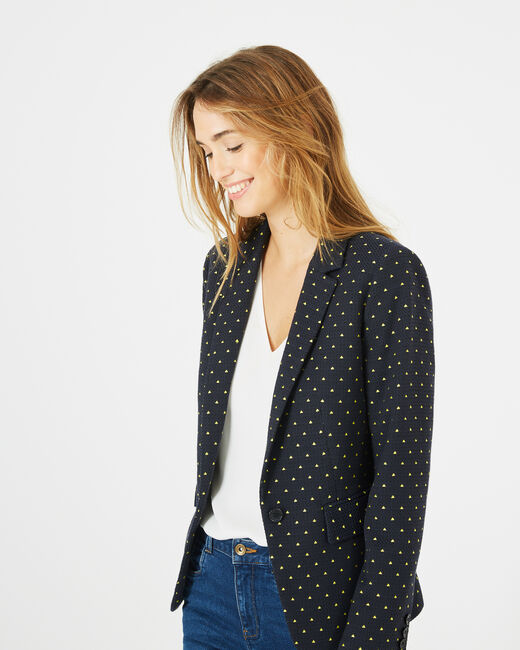 Mia navy blue printed tailored jacket (1) - 1-2-3