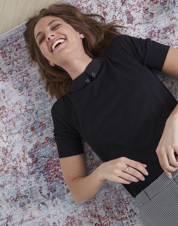 Schwarzer Pullover mit Hemdblusenkragen As (2) - Maison 123