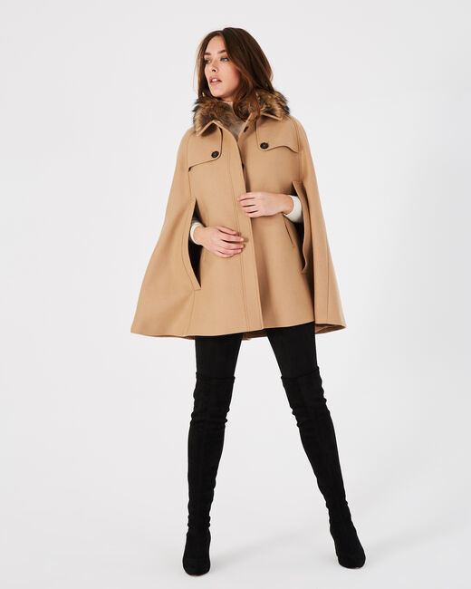 Jackie camel wool cape with fur collar (2) - 1-2-3