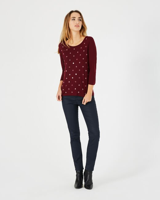 Barry red T-shirt with shiny polka dots (1) - 1-2-3