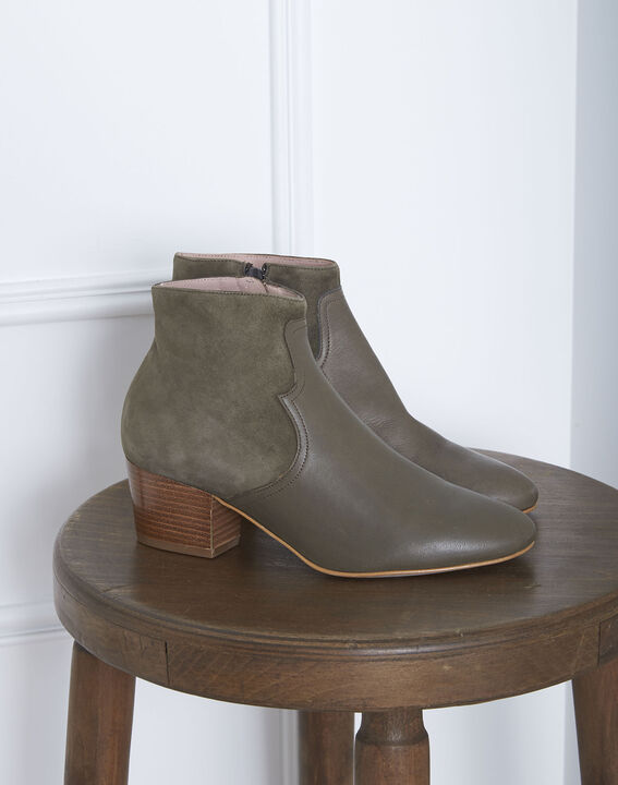 Kendal dual-fabric heeled ankle boots in khaki (4) - 1-2-3