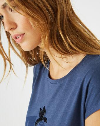 Tee-shirt bleu roi imprimé bambou bleuet.