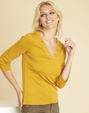 Tee-shirt jaune encolure oeillets basic soleil.