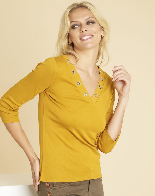Basic yellow T-shirt with eyelets on the neckline (1) - 1-2-3