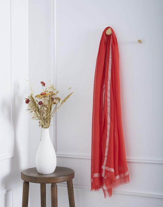 Foulard rouge en viscose détail lurex Orelia (1) - Maison 123