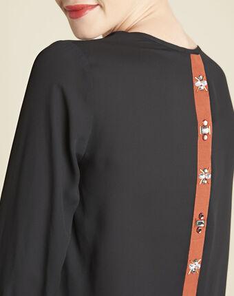 Caroline black blouse with jewelled detailing black.