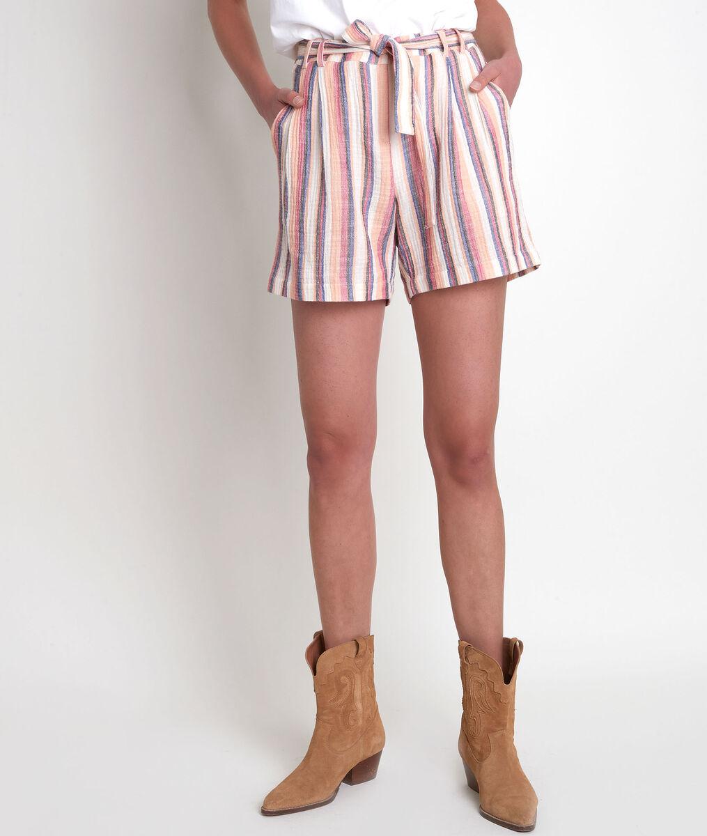 Short taille haute en coton rayé Fariel Bis PhotoZ | 1-2-3