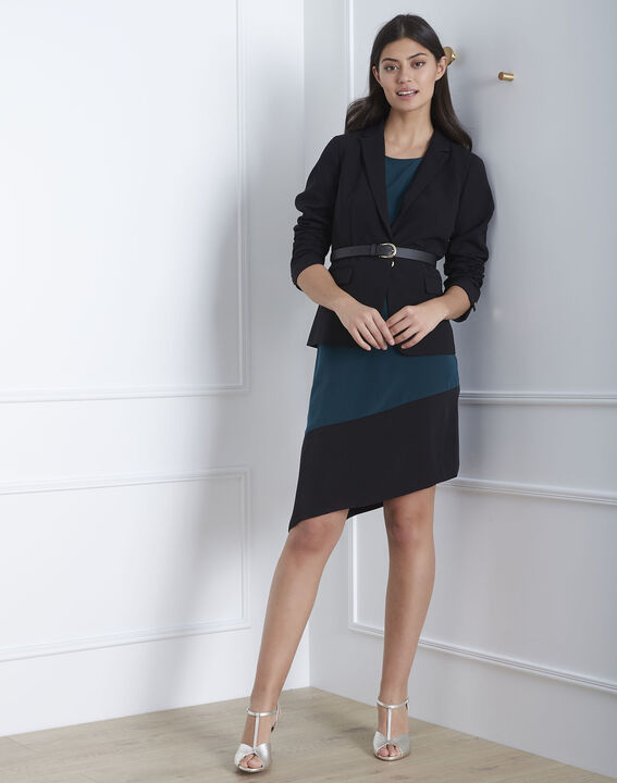 Asymmetrisches Kleid in Dunkelgrün Horline (2) - Maison 123