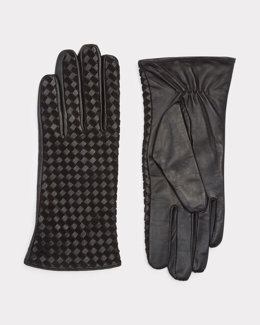 Zoé black woven leather gloves (2) - 1-2-3
