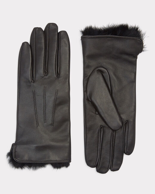 Zakary black leather and fur gloves (2) - 1-2-3