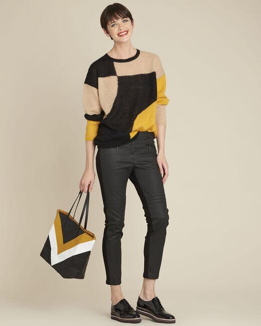 Schwarzer Pullover mit Color-Blocking aus Alpaka und Mohair Bloqui (1) - 1-2-3