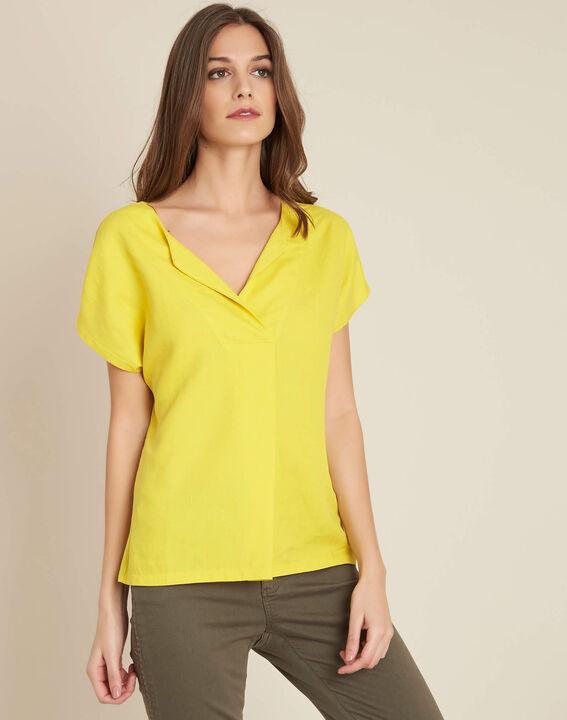 Tee-shirt jaune bimatière col tunisien Gaia (3) - 1-2-3