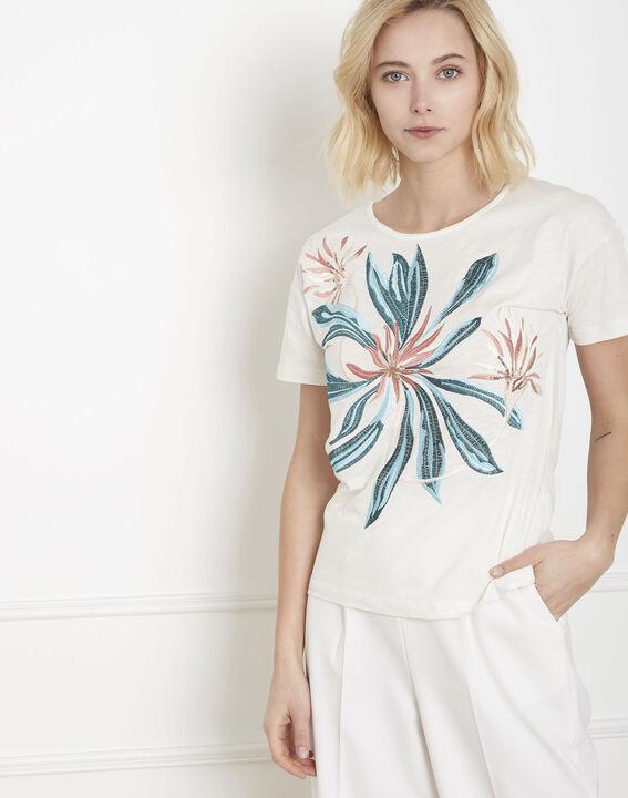 Tee-shirt écru brodé Plage (1) - Maison 123