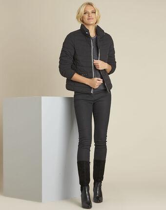 Doudoune noire courte zippée pepite noir.