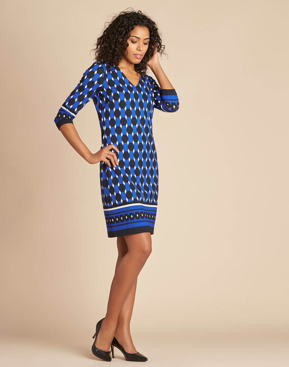 Delila blue graphic printed dress (3) - 1-2-3
