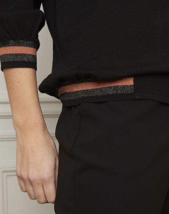 Zwarte trui in sportieve stijl met lurex details Amarante (4) - Maison 123