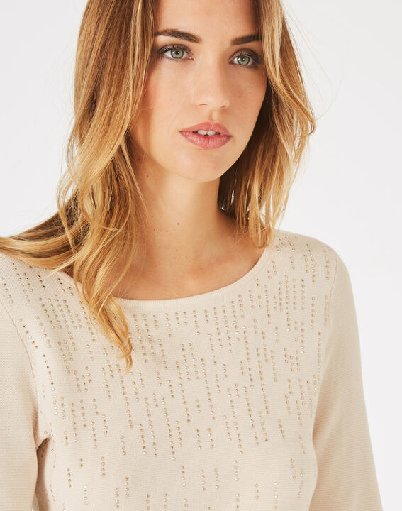 Pluie beige sweater with diamante and round neck (2) - 1-2-3