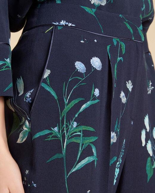 Pantalon fluide marine fleuri Douglas (2) - 1-2-3