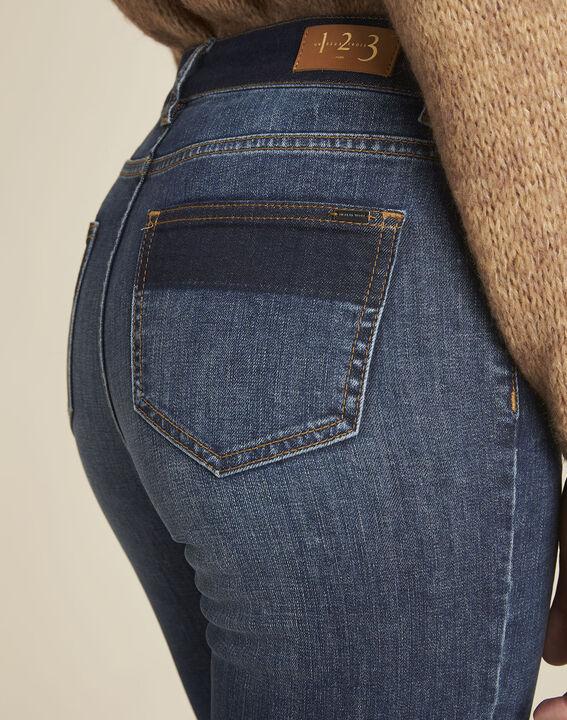 Donkerblauwe slim-fit jeans met twee kleuren Molly (3) - 37653