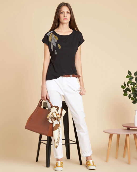 Francis slim-cut cotton 7/8 length trousers in white (1) - 1-2-3