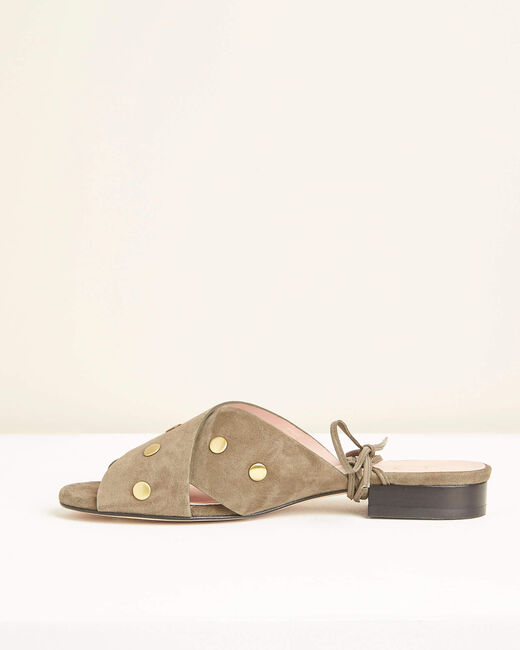 Sandales kaki en cuir lacées cheville Kitty (2) - 1-2-3