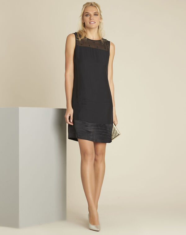 Norma black dress with net and embroidered neckline (2) - 1-2-3
