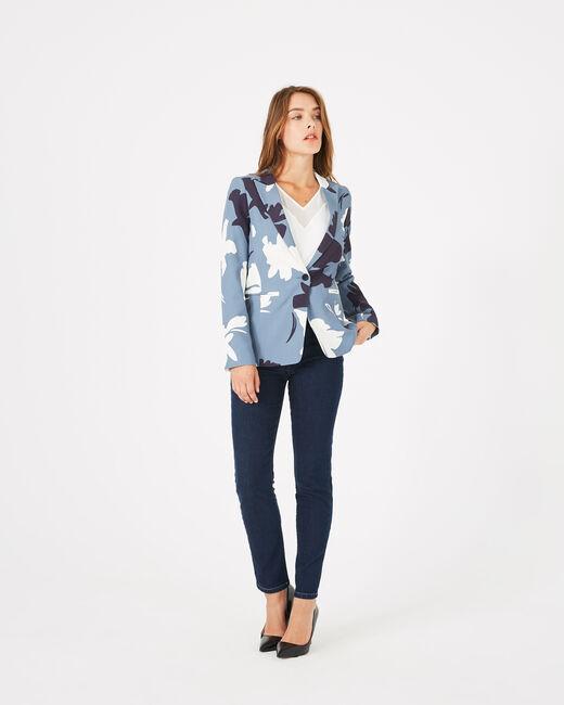 Veste de tailleur bleue mi longue imprimée Demoiselle (1) - 1-2-3