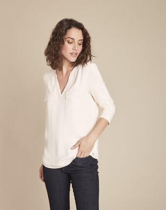 Genna v-neck nude dual-fabric blouse salmon.