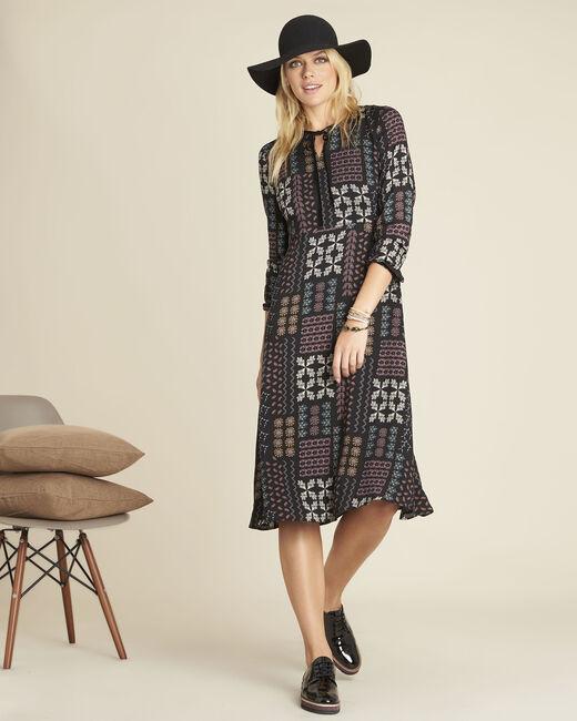 Dionne floral print dress with decorative neckline (1) - 1-2-3