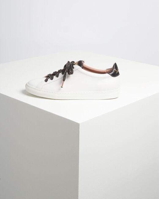 Weiße Leder-Sneakers mit goldenem Siebdruck Kennedy (2) - 1-2-3