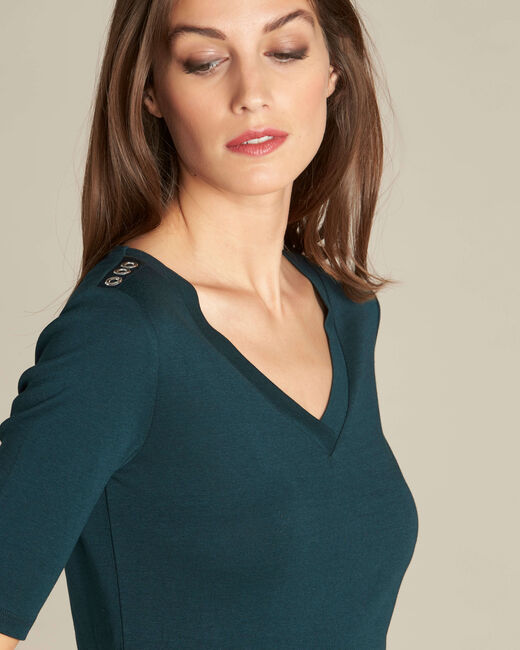 Ecume dark green T-shirt with studded detailing on the shoulders (1) - 1-2-3