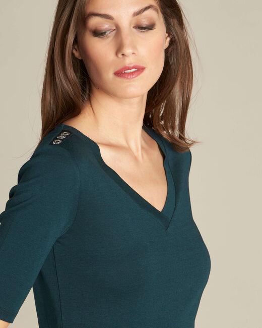 Tee-shirt vert foncé oeillets épaule Ecume (1) - 1-2-3